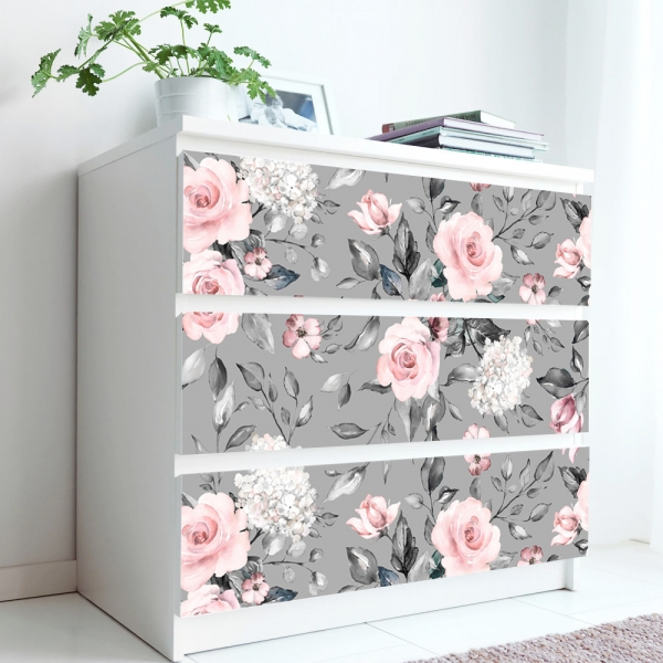 Stickere pentru mobila - Trandafir Roz - 20x80 cm x 3 bucati 0